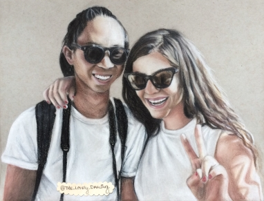 Lorde and her boyfriend, James Lowe; colored pencil