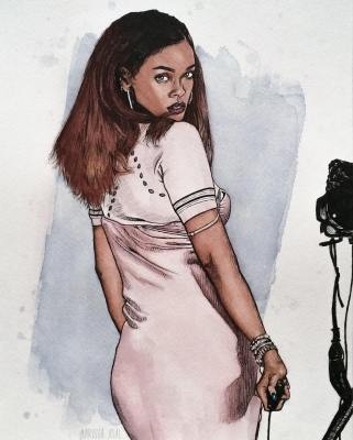 Rihanna, watercolor